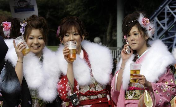 Japanese girls drinking beer
